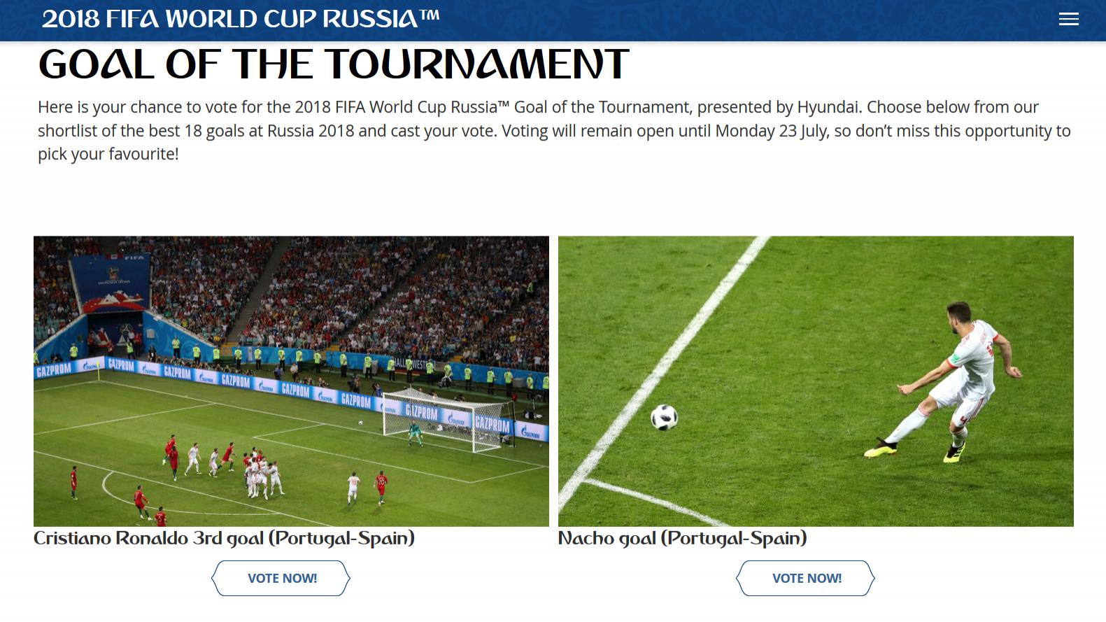 Depois do título de Campeão do Mundo, disputa-se agora o melhor golo. Ronaldo e Quaresma entre os nomeados