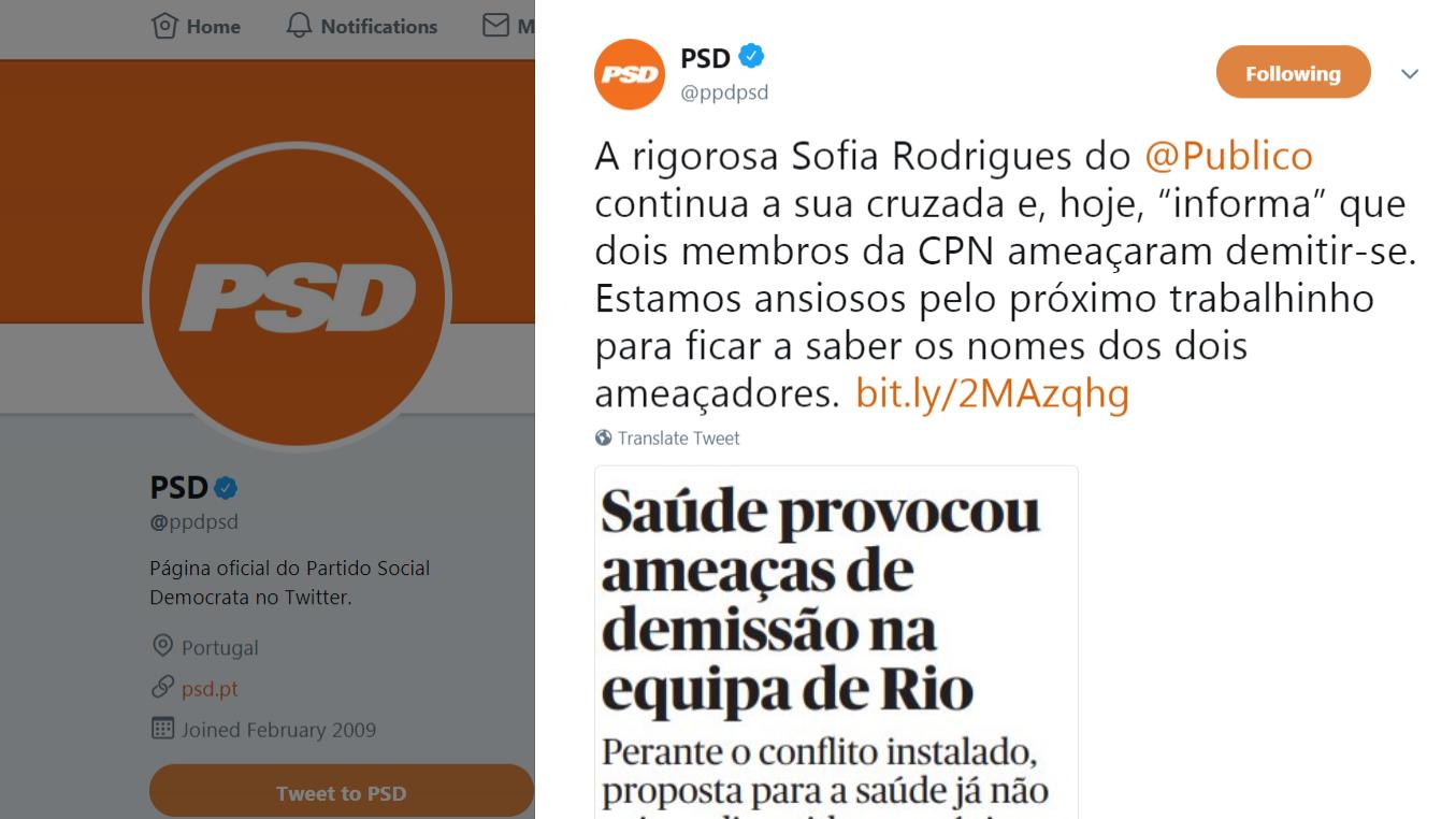 Conta oficial do PSD ataca jornalista do Público no Twitter