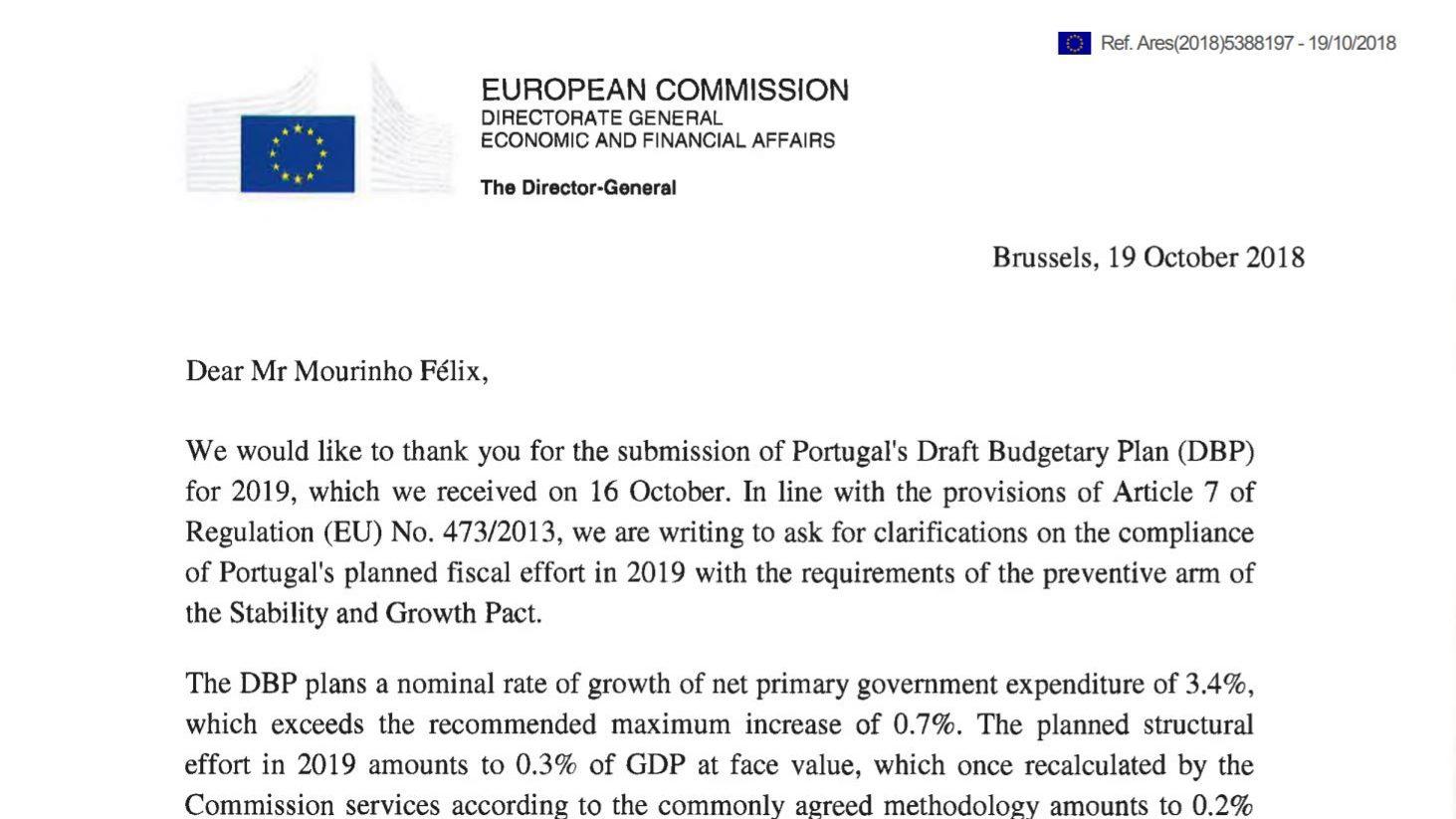 """Bruxelas pede esclarecimentos a Portugal. Vê """"desvio significativo"""" no OE"""